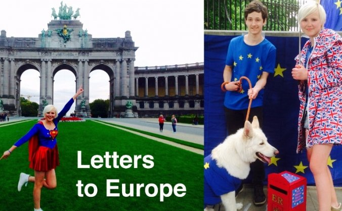 EU Super Girl Delivering Letters to Europe