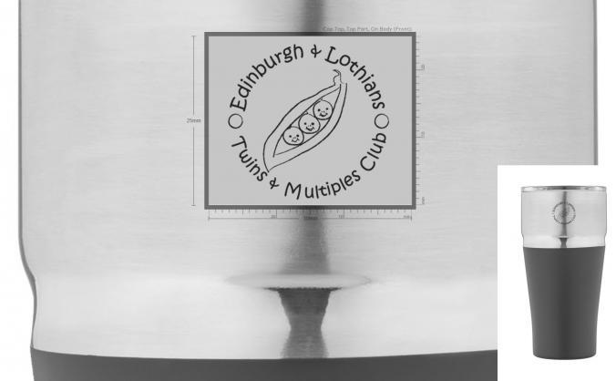 Edinburgh Twins Club branded travel mug