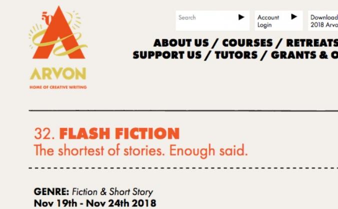 Funding places on Arvon Flash Fiction Course