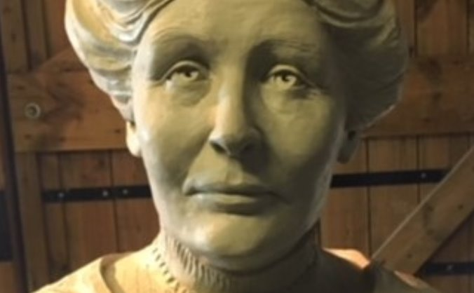 Bronze portrait of Emmeline Pankhurst