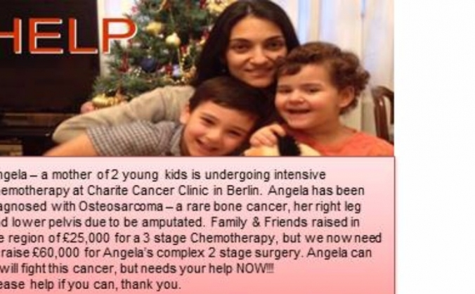 Angela - a mother of 2 young kids fighting cancer
