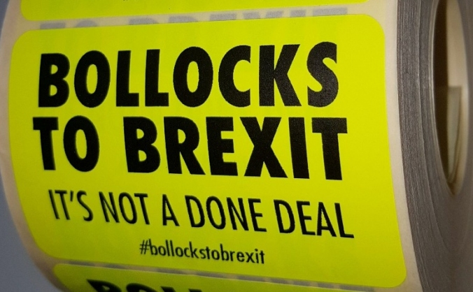 Bollocks to Brexit stickers at Reading Festival