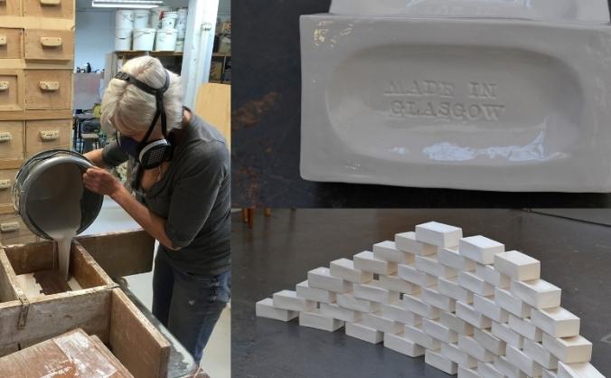 100+ slip-cast bone china/porcelain bricks