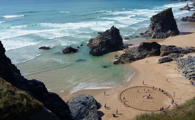 Beach Labyrinth marks 60 Years of AONB in Cornwall