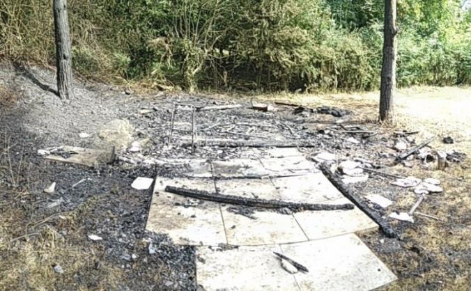 Burnt beekeeping shed