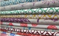 First collection of hand printed fabrics by the metre