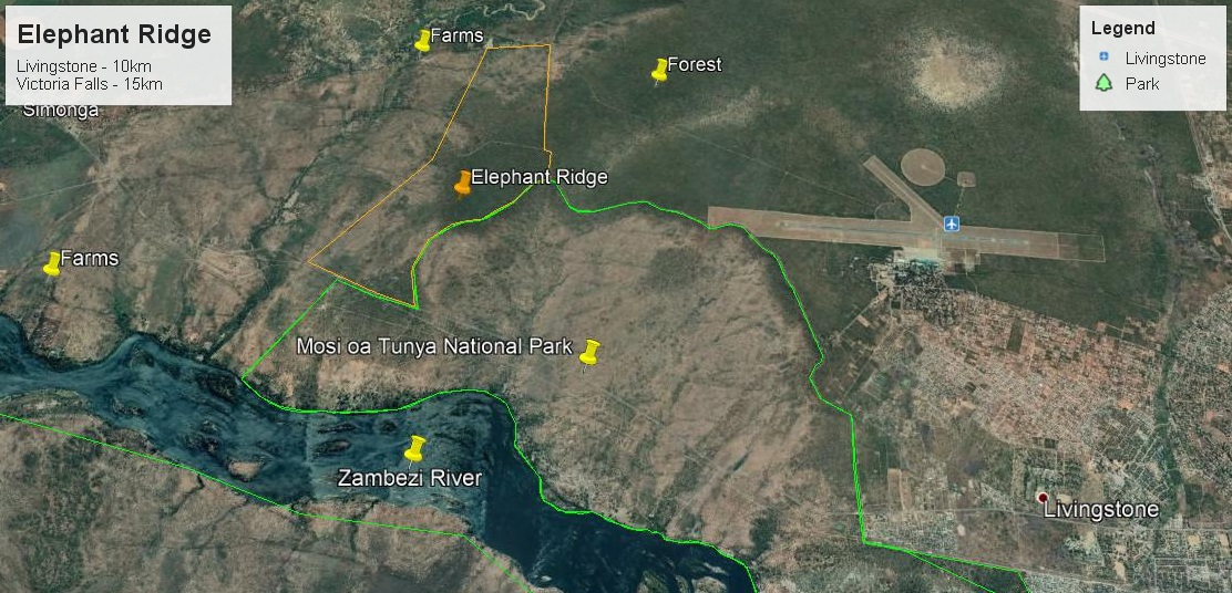 This maps from Google Earth shows the location of our farm in proximity to Livingstone and other landmarks.