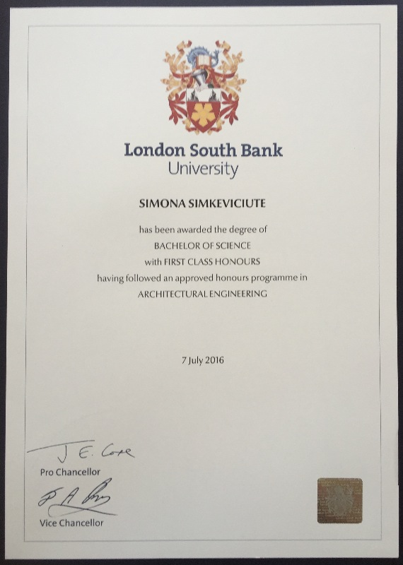 First Class Honors Degree In BSc Architectural Engineering At London South  Bank University  First Class Degree
