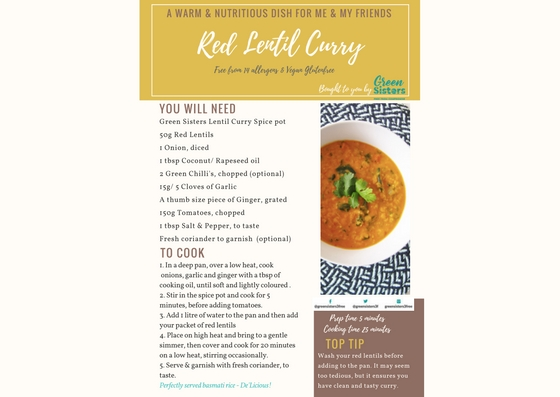 Recipe Card for ed Lentil Curry