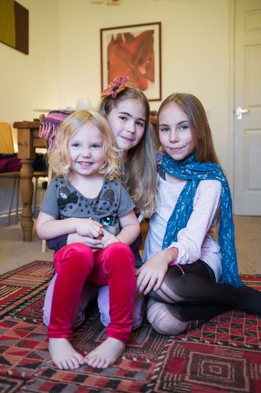 Kyla with her sisters Frieda and Jemima