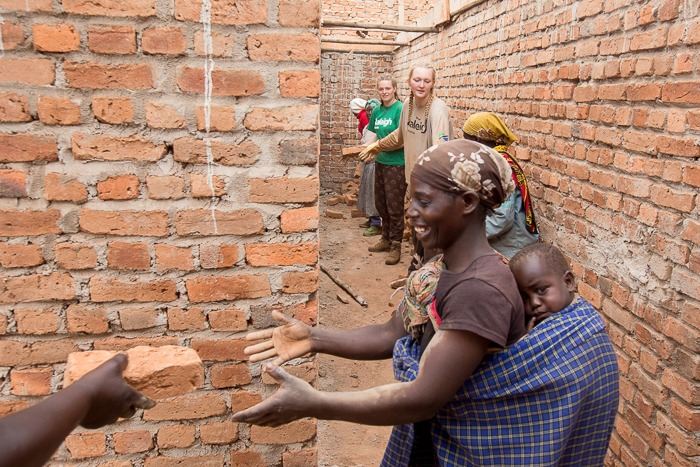 Building a latrine block with the local community