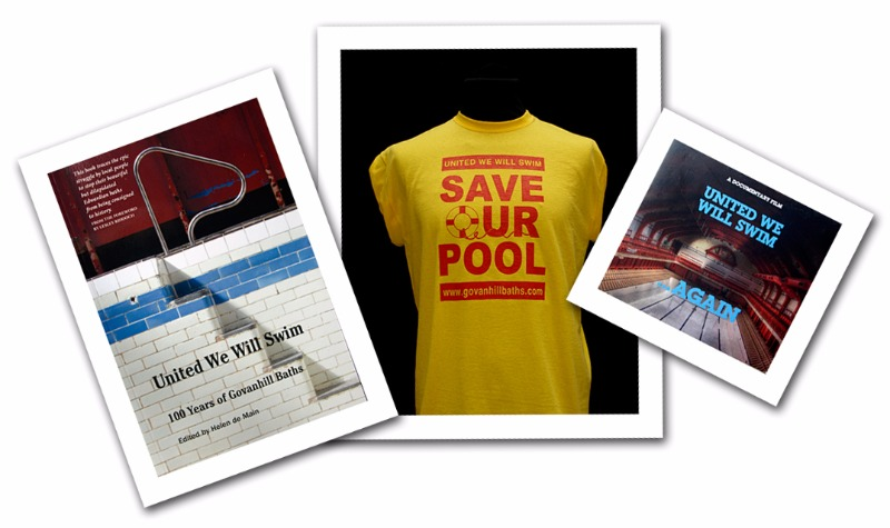 Book and DVD cover of United We Will Swim and t-shirt with save our pool on it.