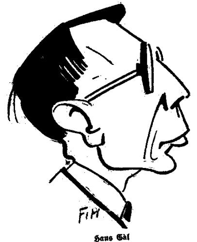 Caricature of Hans Gál, 1927