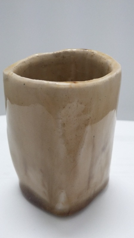 SAKE CUP, 2, stoneware,  potter wheel made,  smooth light brown glossy glaze