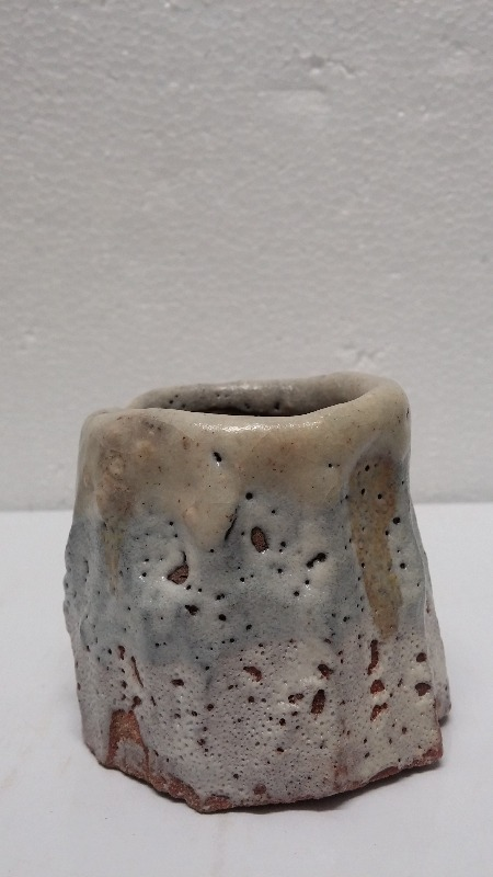 SAKE CUP, stoneware, carved by hand,  red slip and shino glaze
