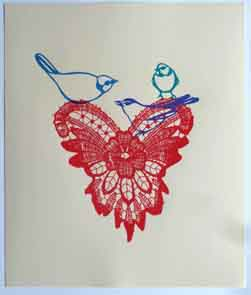 screenprint of 3 birds sitting on a lacy heart