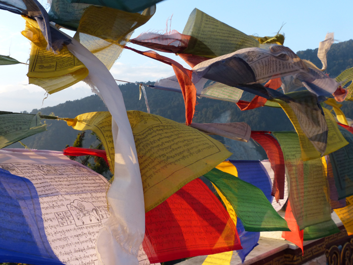 Tibetan Buddhist prayer flags blowing in the wind