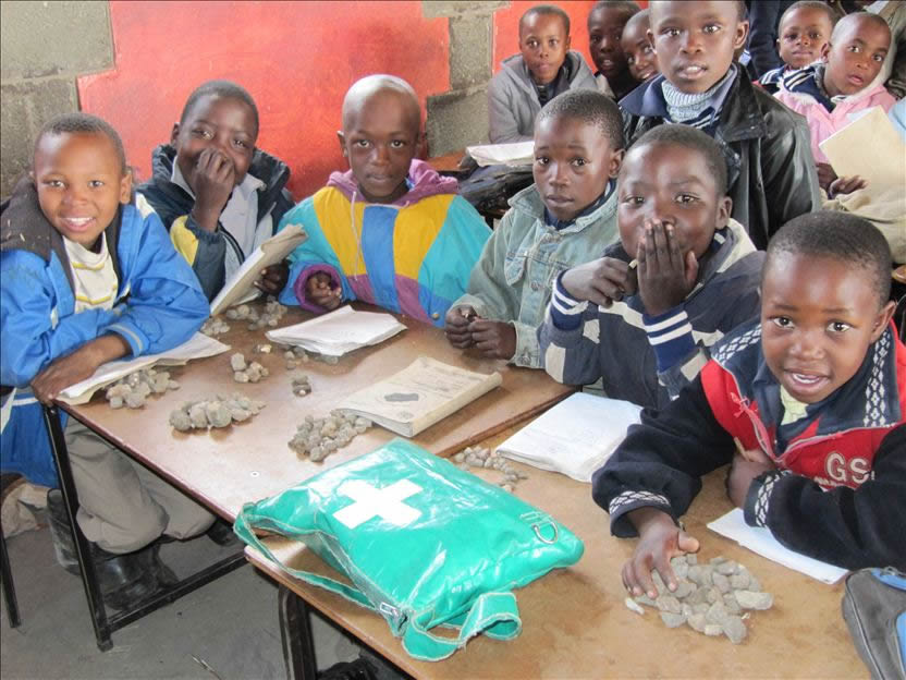 Children at a rural school in Lesotho