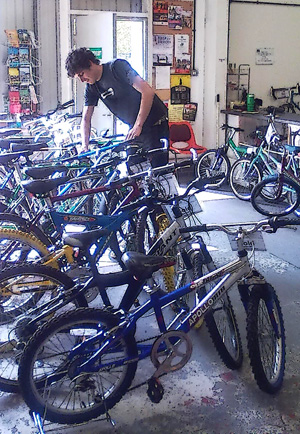 Donated bicycles after refurbishment