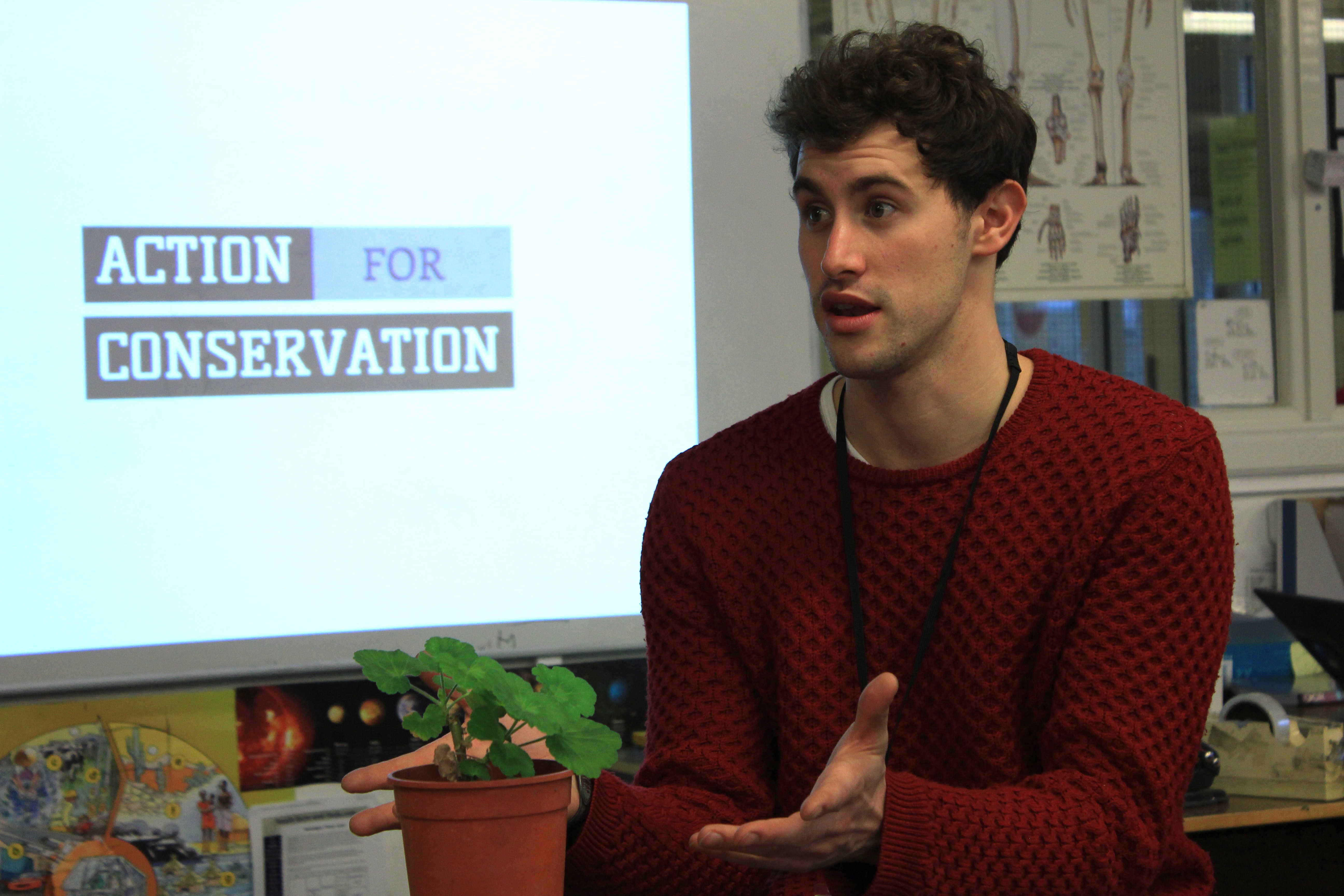 Hendrikus van Hensbergen explains Action For Conservation to a class of students