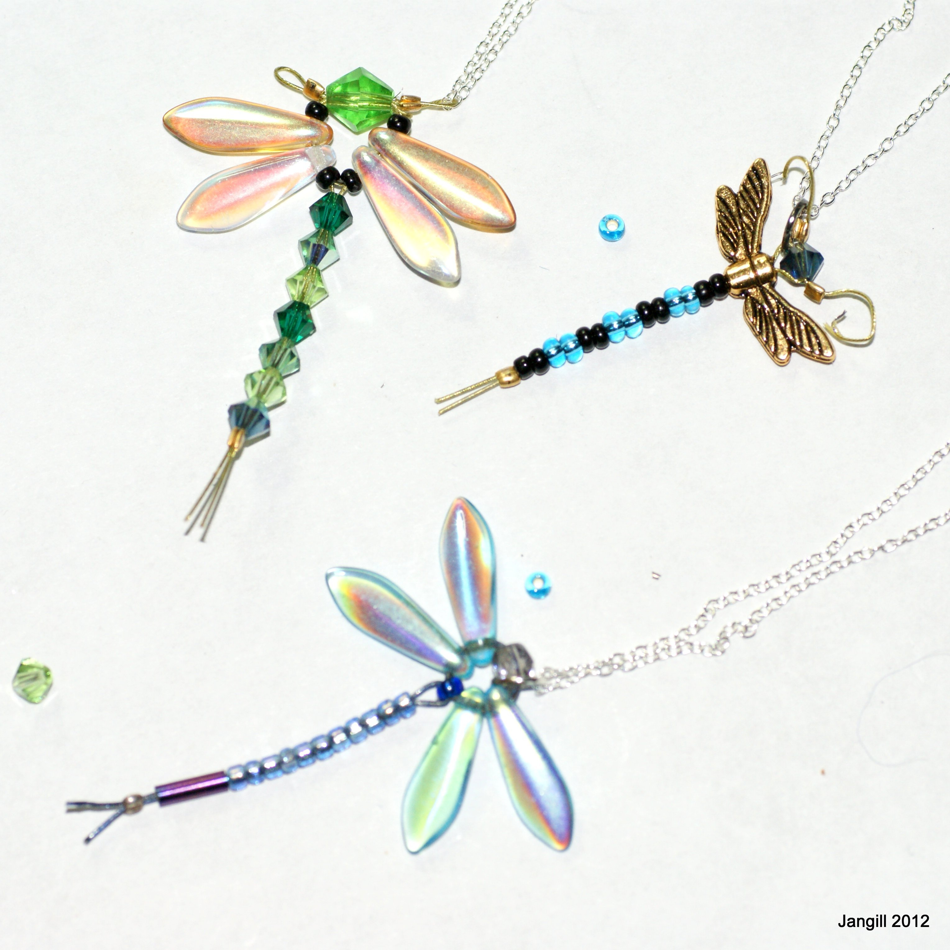 Beaded Dragonflies from a jewellery class