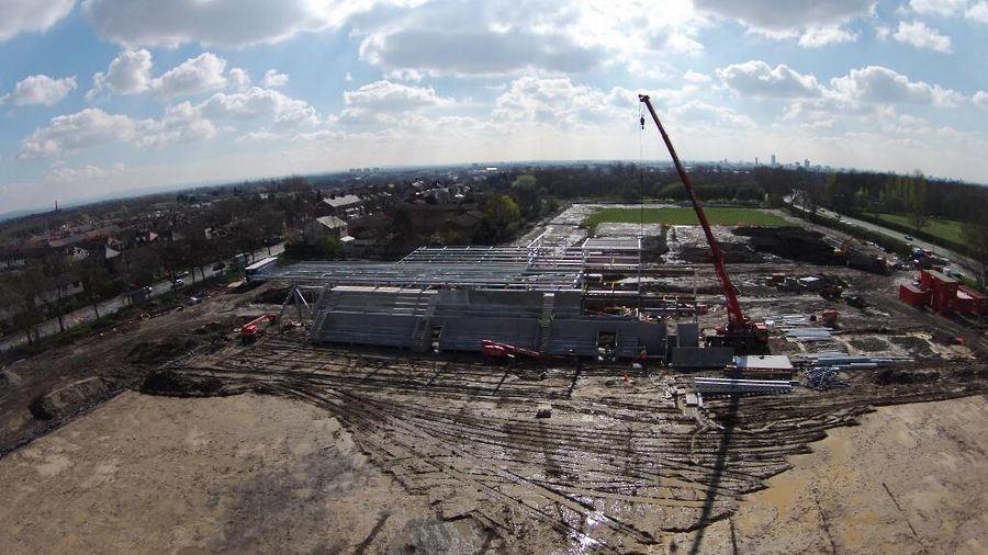 Aerial view of Broadhurst Park, FC United's new ground in Moston, 2 April 2014. Photo credit: @dahazlehurst on Twitter.