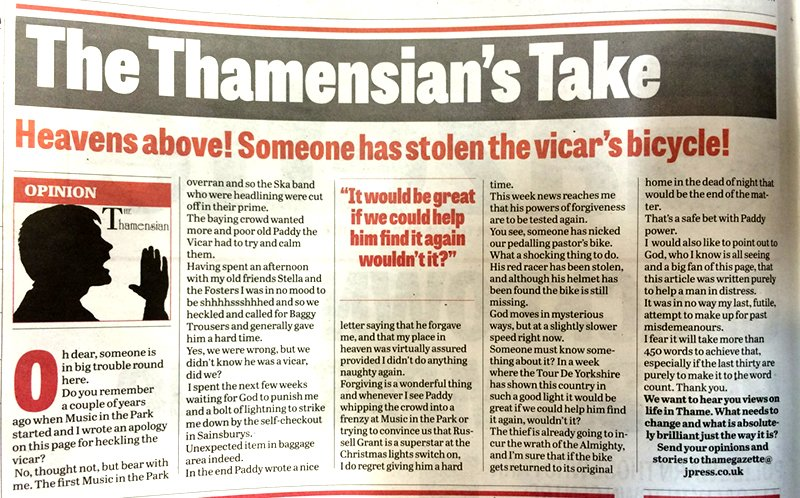 Vicar's bike has been stolen
