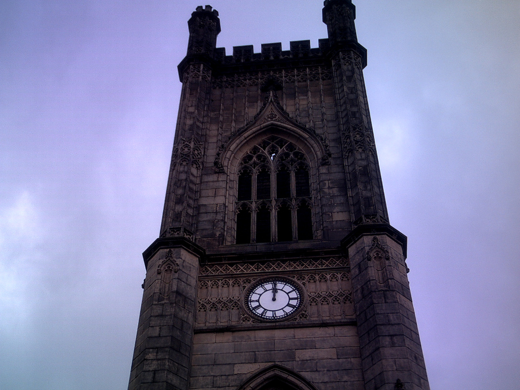 the clock at bombed out church