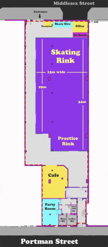 Roller rink Glasgow, floor plan