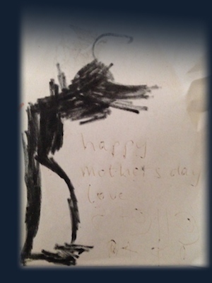 Child's drawing of a black shadowy figure
