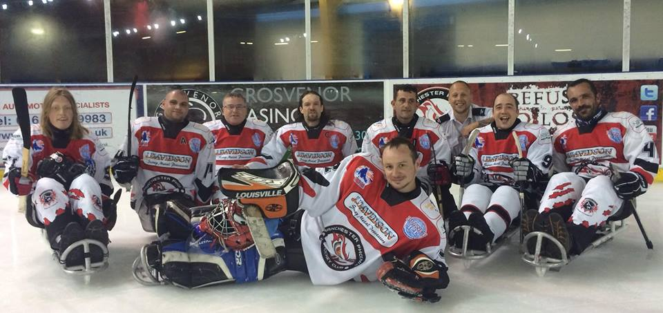 Manchester Phoenix 2014 Sledge Hockey team.
