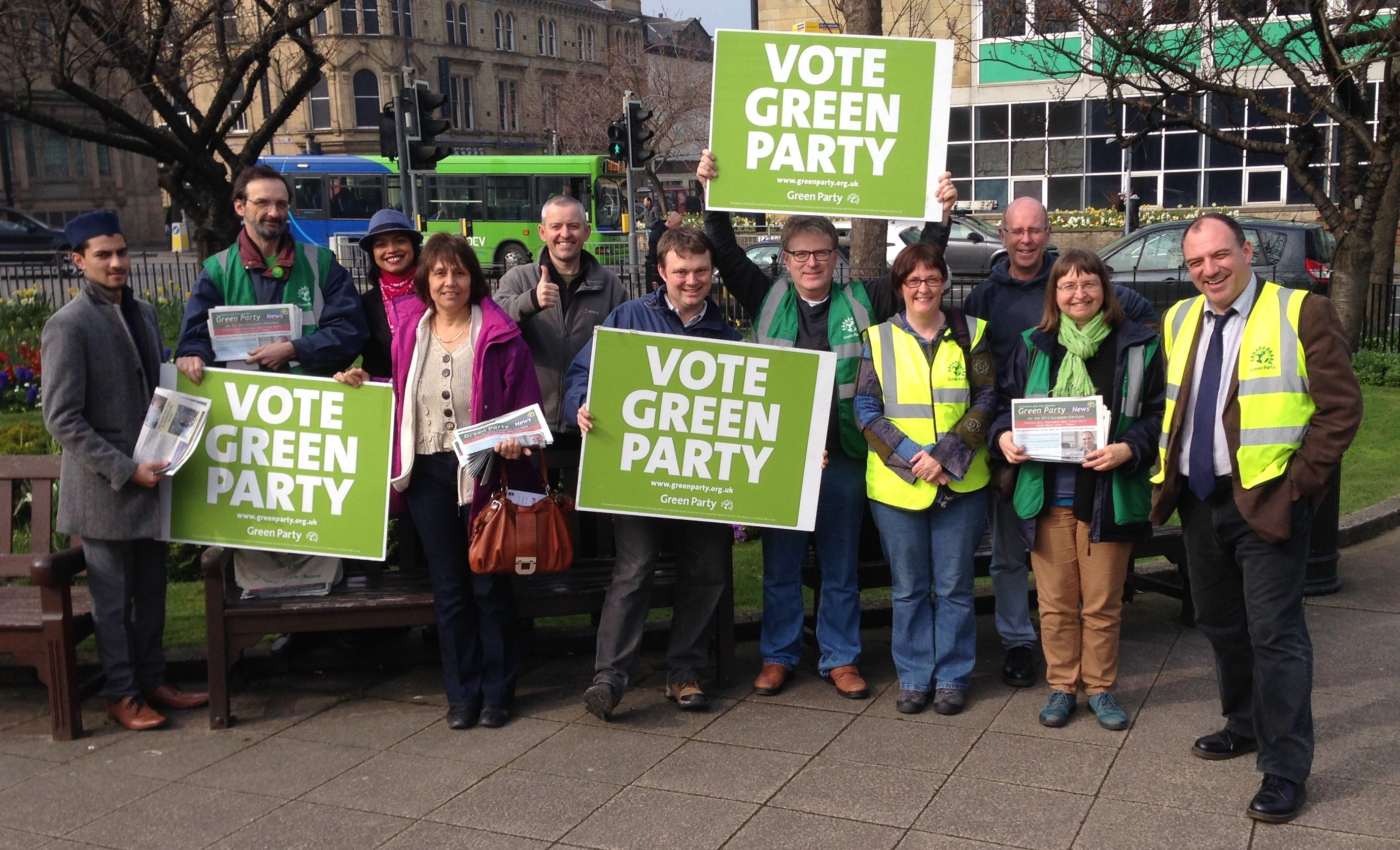 Kevin, with fellow Green campaigners in Keighley in 2014