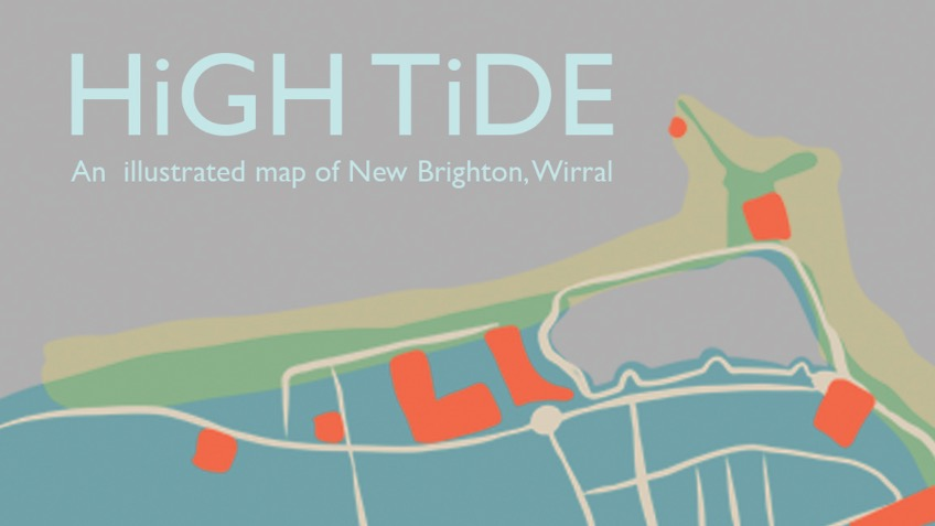 Map Of England Brighton.High Tide New Brighton Illustrated Risograph Map A Arts