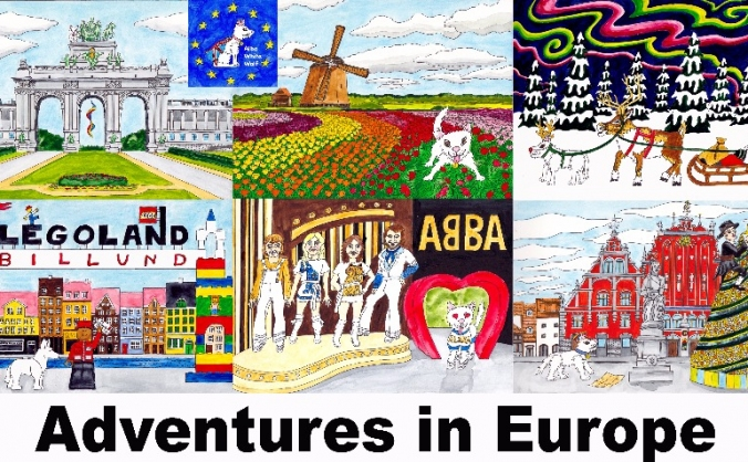 Alba white wolf goes to europe - children's book image