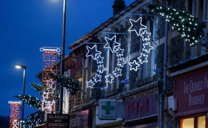 Moorland road christmas lights image