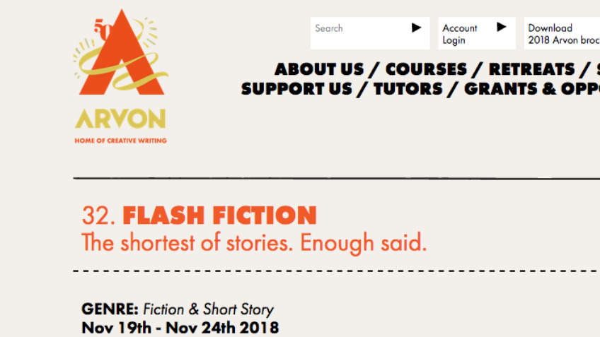 Funding places on Arvon Flash Fiction Course