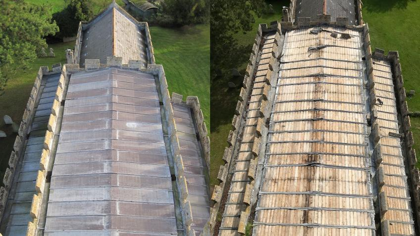 A new roof for St Mary's Whaddon after lead theft