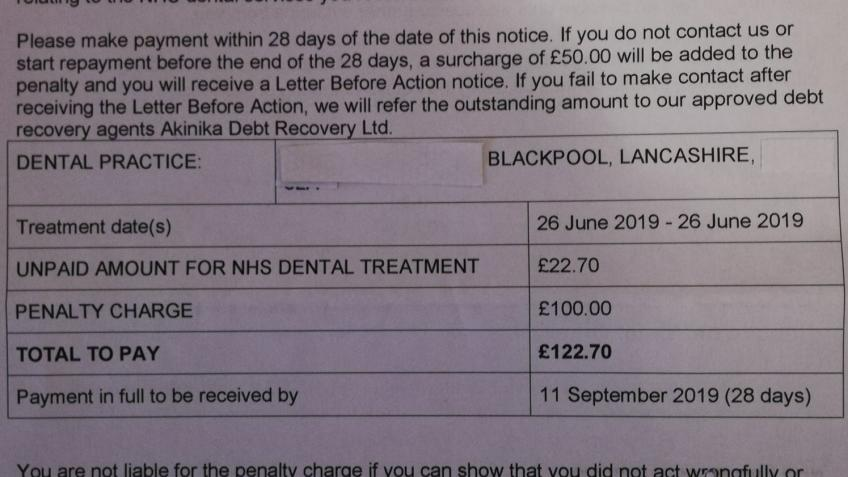 Struggling to Pay Dental Charge Error