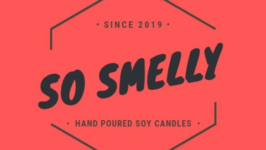 Hand poured soy candles by So Smelly.