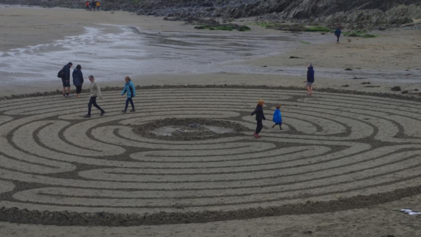 Beach labyrinth for World Mental Health Day